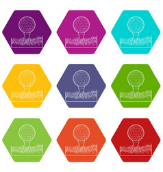 Ball for golf icons set 9 vector