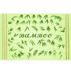 Bamboo Stems with Green Leaves vector