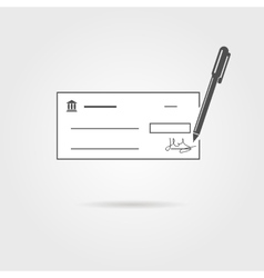 Bank check with pen and shadow vector