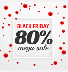 black friday mega sale poster with red dots vector image