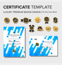 blue certificate design with badge vector image