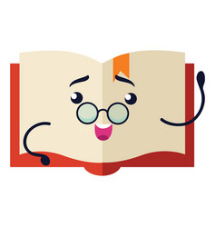 Book flat icon funny textbook characters mascot vector