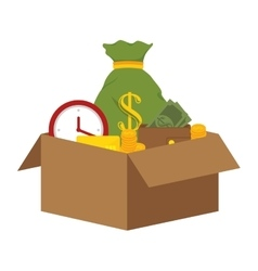 Box with coins icon vector