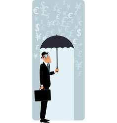 British businessman under umbrella vector image