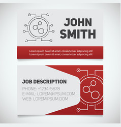 Business card print template with connection logo vector