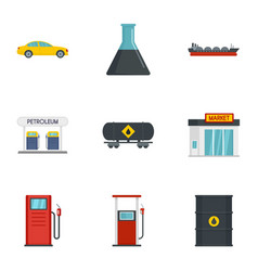 business petrol icon set flat style vector image