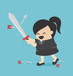 business woman holding sword to protecting arrow vector image