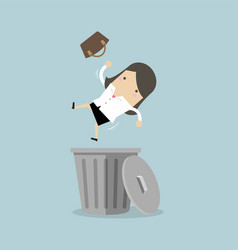 businesswoman dropped into trashcan layoff concept vector image