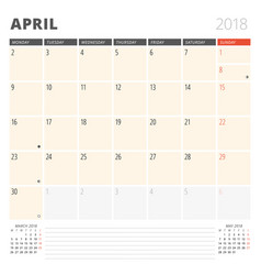 Calendar planner for april 2018 design template vector