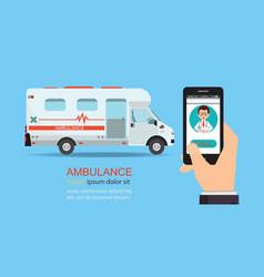call ambulance car via mobile phone vector image