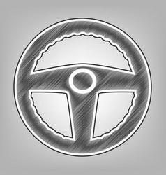 car driver sign pencil sketch imitation vector image