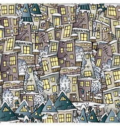 Cartoon fairy tale winter houses pattern vector image
