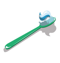 Cartoon toothbrush with toothpaste vector