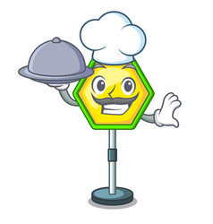 Chef with food road traffic sign on the cartoon vector