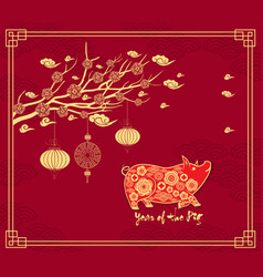 chinese new year background with hanging lanterns vector image
