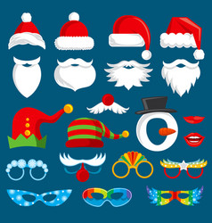Christmas holiday photo booth props vector