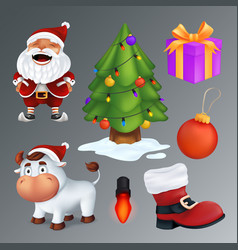 christmas set includes a tree gift box red boot vector image