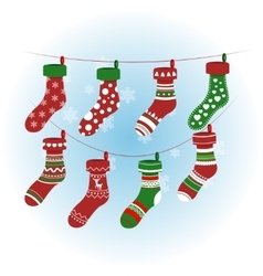 Christmas socks in red colour colorful vector