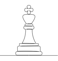 continuous line drawing chess pieces king vector image
