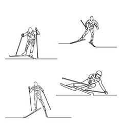 continuous one line set skiers one line vector image