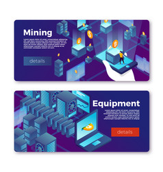 cryptocurrency mining equipment banners set vector image