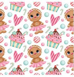 Cute cartoon christmas seamless pattern vector