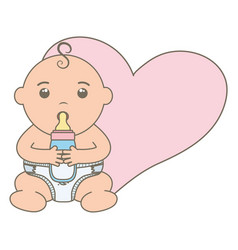 cute little baboy with bottle milk and heart vector image