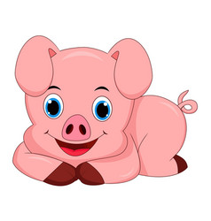 cute pig cartoon isolated on white background - ve vector image