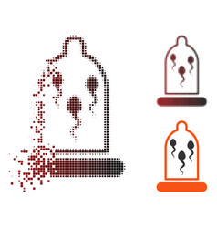 Decomposed pixel halftone sperm in condom icon vector