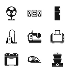 Devices for home icons set simple style vector