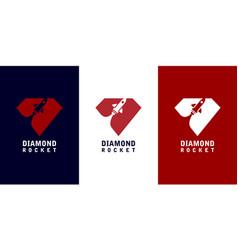 Diamond rocket logo design vector
