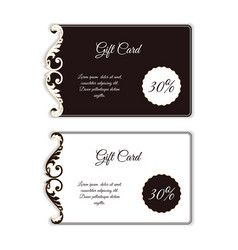 Elegant gift card with an uneven edge with leafy vector
