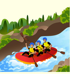 Extreme rafting concept background cartoon style vector