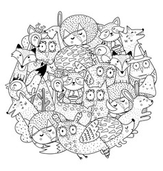 fantasy forest animals circle shape coloring page vector image