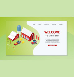 farm isometric with rural buildings agricultural vector image