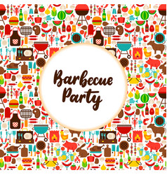 flat barbecue party greeting vector image
