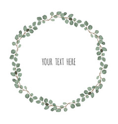 Frame made of eucalyptus branches on white vector