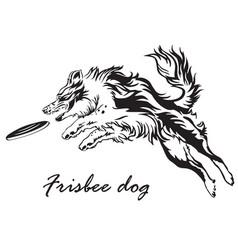 Frisbee dog vector