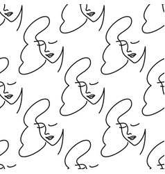 Girl face one line vector