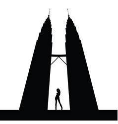 Girl silhouette front of bulding vector