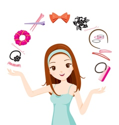 Girl With Hair Accessories vector