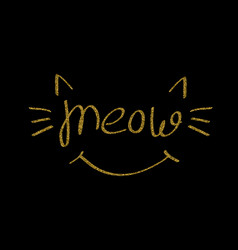 Gold glitter meow lettering vector