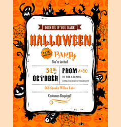 halloween party invitation in frame vector image
