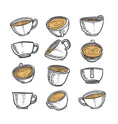 hand drawn sketch of a cup of coffee in any vector image
