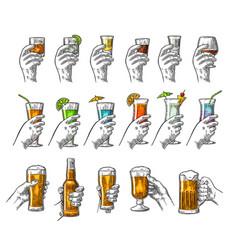 hand holding glass tequila vodka rum cognac vector image