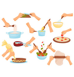 Hands preparing food process of cooking pasta vector