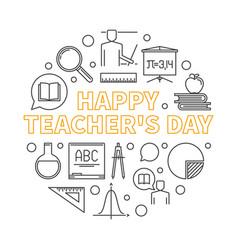 happy teachers day round outline minimal vector image