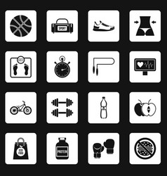 Healthy life icons set squares vector