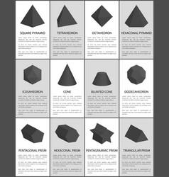 hexagonal and pentagonal pentagrammic black prisms vector image