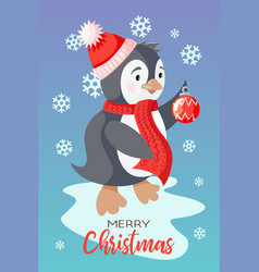 holiday christmas card with cute penguin vector image